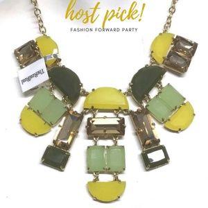 KATE SPADE Bib Necklace Goldtone Green Yellow $148